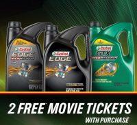 Get 2x Fandango Movie Tickets w/ Purchase of 5-Qt. Castrol Edge Motor Oil