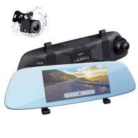 "6.8"" Aukey DRA2 1080p Touchscreen Mirror Dash Cam w/ Front & Rear Cam"