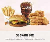 Select Burger King Stores: Cheeseburger 10pc Chicken Nuggets Med Fries Small Soda