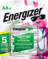 Energizer Universal Rechargeable AA Batteries: 8-Pack $12.40 4-Pack