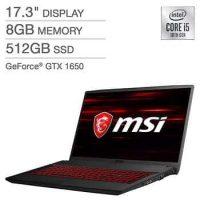 "Costco Members: MSI GF75 17.3"" Laptop: i5-10300H 8GB DDR4 512GB SSD GTX 1650"