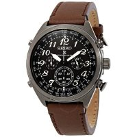 Seiko Men's Prospex World Time Chronograph Watch w/ Brown Leather Strap