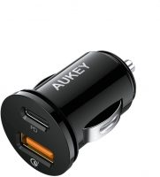 AUKEY USB-C and USB-A Dual Car Charger w/ Power Delivery + QC 3.0