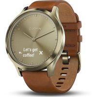 Garmin Vivomove HR Premium Gold Tone Smartwatch w/ Leather Band