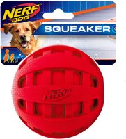"Nerf Checker Ball Squeaker Dog Toy (Red 4"")"