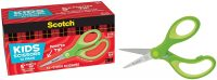 """12-Pack 5"""" Scotch Soft Touch Pointed Kid Scissors (Green)"""