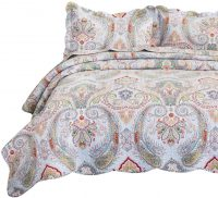 Bedsure 100% Cotton 3-Piece Printed Quilt Set w/ 2 Shams Twin