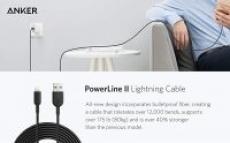 10′ Anker Powerline II Apple MFi Certified Lightning Cable