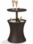 Keter 7.5-Gal Cool Bar Rattan Style Table, Espresso Brown