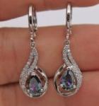 18K White Gold Filled – MYSTICAL Rainbow Topaz Hollow Waterdrop Women Earrings $2.99