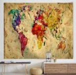 World Map Tapestry Wall Hanging, World Map Wall Tapestry,Antique Map Tapestry Wall Hanging Home Decorations for Living Room Bedroom Dorm Decor