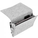 Bedside Caddy Hanging Storage Organizer Bag Felt Bedside Pocket- Phone, Tablet, Glasses, Remotes, Magazine Holder- Light Gray