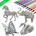 3D Coloring Puzzle Set,4 Animals Puzzles with 12 Pen Markers $6.99