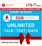 360-Day Red Pocket Prepaid Plans: Unlimited Talk & Text + 5GB Data / Month