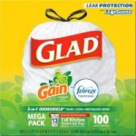 100-Count 13-Gallon Glad Tall Kitchen Drawstring Trash Bags (Gain w/ Febreze)