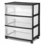 Sterilite 3-Drawer Wide Storage Cart w/ Casters (White or Black)