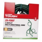 Hyper Tough 25' 3-Outlet Multi-Directional Indoor/Outdoor Extension Cord