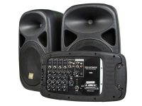 Monoprice Stage Right 130W 8-CH All-In-One Portable PA System w/ 2x 10″ Speakers