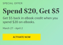 Select Amazon Accounts: Spend $20 on eBooks Get $5 eBook Credit