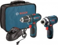 Bosch 12V Cordless Drill/Driver & Impact Driver Kit w/ 2 Batteries & Charger