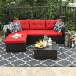 3-Piece Phi Villa Rattan Outdoor Sectional Sofa Set (Beige or Red)