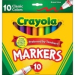10-Count Crayola Broad Line Markers (Classic Colors)
