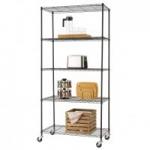 Trinity Basics 5-Shelf NSF Wire Shelving Rack w/ Wheels