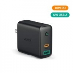 Aukey Dual Port USB C / USB A Wall Charger w/ 30W Power Delivery
