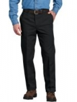 Dickies Men's Flat-Front Work Pants (Black, Dark Navy or Desert Sand)