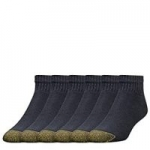 6-Pairs of Gold Toe Men's 656p Cotton Quarter Athletic Socks (Black)