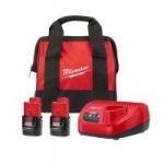 Milwaukee: 2x M12 12V Li-Ion 2.0Ah Batteries & Charger + Select Bare Tool