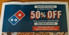 Domino's Pizza – 50% off Pizzas at Menu Price – 9/14 – 9/20