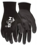Nylon Gloves: MCR Safety 9669L Nylon Knitted Shell MCR Safetys with Black PU Dipped Palm and Fingers Black Large 1-Pair: $1.74 + FS/Prime