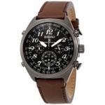 Seiko Men's Prospex World Time Chronograph Watch w/ Brown Leather Strap