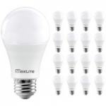 16-Pack MaxLite 5000K A19 1600 Lumen 100W Equivalent Dimmable LED Bulbs