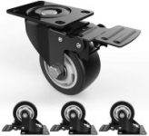 Swivel Caster Wheels with Safety Dual Locking and Polyurethane Foam No Noise Wheels Heavy Duty – 250 Lbs Per Caster (Pack of 4) $21.59