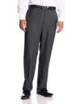 Haggar Men's Eclo Stria Expandable-Waist Plain-Front Dress Pant (Med Grey)