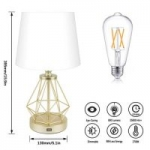 CO-Z Modern Table Lamp w/ Metal Base & USB Charge Port + Touch On/Dim Control