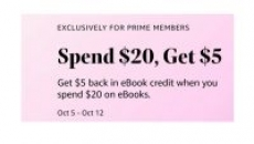 Prime Members: Spend $20 on Kindle eBooks Get