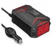 Bestek 300W Pure Sine Wave Power Inverter Car Adapter (DC 12V-AC 110V)