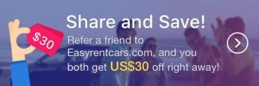 $30 Car Rental Coupon At Referral @EasyRentCars