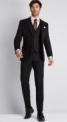 Moss 1851 Tailored Fit Plain Black Suit-$178.00-@mossbros
