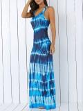 Bohemian Tie-Dye Illusion Print Racerback Long Tank Dress-$14.99-@dresslily