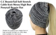 C.C BeanieTail Soft Stretch Cable Knit Messy High Bun Ponytail Beanie Hat-23% OFF