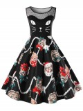 Christmas Plus Size Kitten Print Swing Dress-36% off
