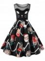 Christmas Plus Size Kitten Print Swing Dress-36% off