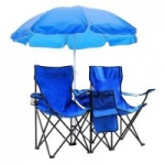civilys Double Folding Beach Chair with Removable Umbrella Table Cooler