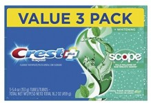 3-Pack 5.4oz. Crest Complete Whitening Plus Scope Toothpaste (Minty Fresh)