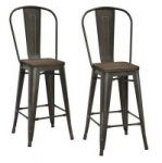 DHP Luxor Metal Counter Stools with Wood Seats, Set of 2 – $79.00 Shipped