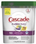 70-Count Cascade Platinum Plus Dishwasher Detergent ActionPacs (Lemon)